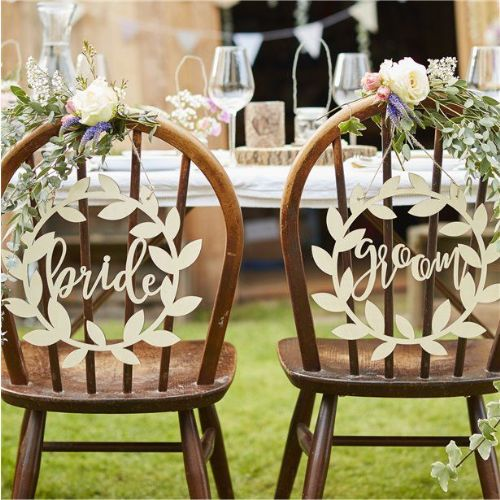 Rustic Country Bride & Groom Chair Signs (each)